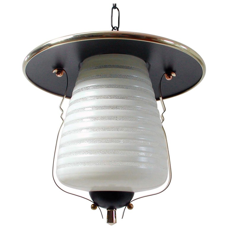 Italian Midcentury Lantern Pendant, Ceiling Light, 1950s For Sale