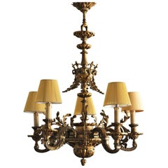 19th Century French Louis XVI Style Gilt Bronze Five-Arm Chandelier