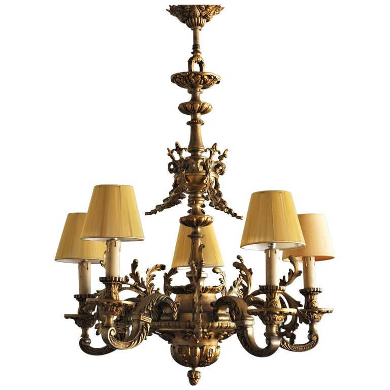 19th Century French Louis XVI Style Gilt Bronze Five-Arm Chandelier For Sale