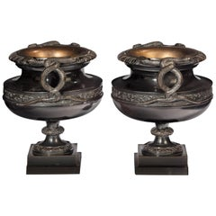 Handsome Pair of 19th Century Bronze Neoclassic Urns