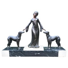 Stylish Art Deco Lady in Dress with Her Greyhounds Sculpture on a Marble Base