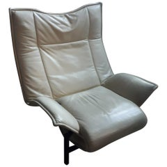 Armchair, White Leather and Iron, 1970, Italy