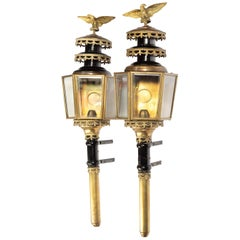 Pair of Well Patinated Bronze and Gilt Bronze Coach Lamps