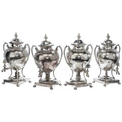 Rare Set of Four Late 19th Century Silver Plated Large Tea Urns