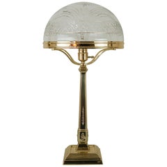 Jugendstil Table Lamp Vienna with Original Cut Glass Shade, 1909