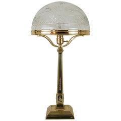 Jugendstil Tisch Lampe Wien mit Original schneiden Glasschirm, 1909