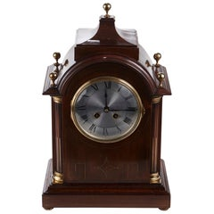 Quality Antique Mahogany Brass Inlaid 8 Day Mantle Clock