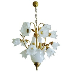 Art Deco Murano Glass and Brass Four-Light Bouquet Chandelier
