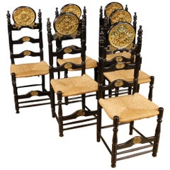 20th Century Lacquered and Gilded Wood Dutch Group of 6 Chairs, 1960