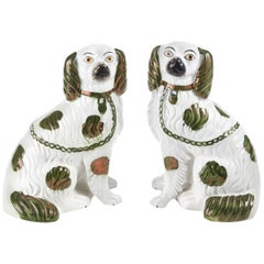 Pair of 19th Century Staffordshire Copper Lustre Spaniels