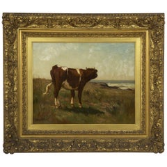 Pastoral Landscape Painting of a Cow by John Carleton Wiggins, Barbizon