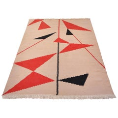 Mid-Century Modern Hand Woven Kilim Rug with Geometric Decoration, circa 1950
