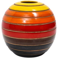 Bitossi Vase, Ceramic Stripes, Yellow Orange Red, Signed