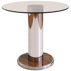 Modernist, Round Sofa/ Coffee Table, Polished Stainless Steel Base and Glass Top