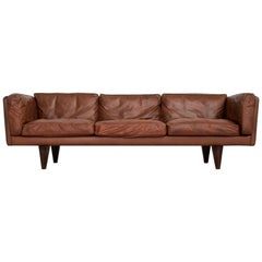 Illum Wikkelso Three-Seat Sofa 'V11' in Brown Leather