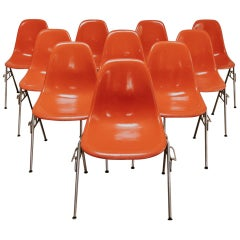 Set of 12 Vintage Stackable Charles and Ray Eames Chairs