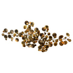 Brass Raindrops Metal Wall Sculpture by Curtis Jere