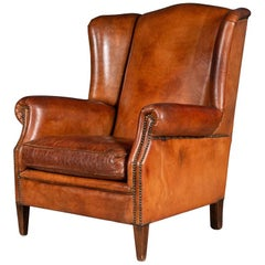 Late 20th Century Dutch Leather Wingback Sheepskin Leather Armchair