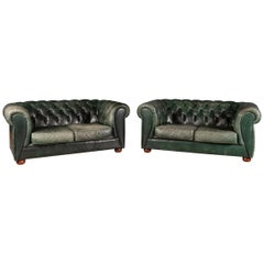 Elegant 20th Century Pair of Green Two-Seat Leather Chesterfield Sofas