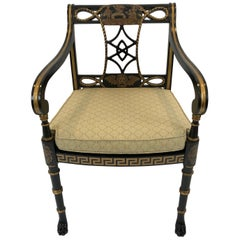 Sensational Greek Key Motif Regency Style Arm Chair Club Chair with Caned Seat