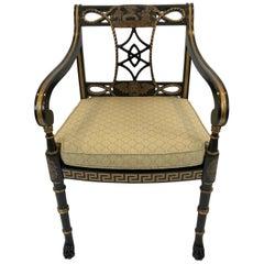 Sensational Greek Key Motif Regency Style Arm Chair Club Chair with Caned Seat