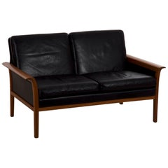 Hans Olsen Danish Mid-Century Modern Leather Loveseat Sofa