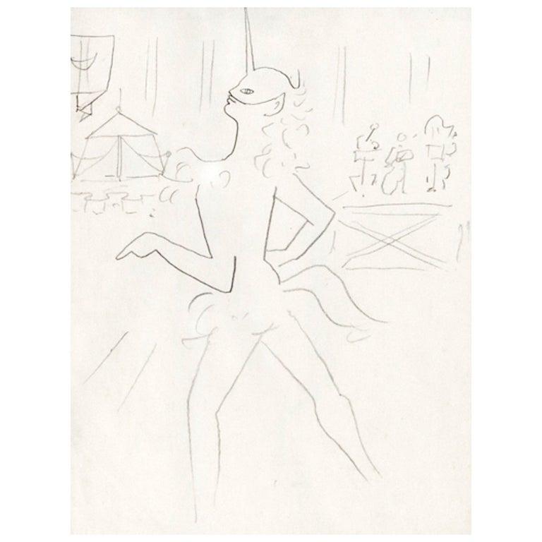 """Drawing by Jean Cocteau """"La Dame a la licorne"""", 1953 1"""