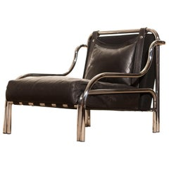Leather and Chrome Lounge Chair by Gae Aulenti for Poltronova, 1960s