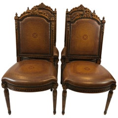 Grand Set of 4 Jacobean Style Carved Walnut and Leather Side Dining Chairs