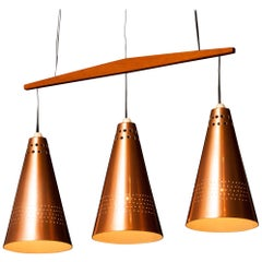 1950s, Copper and Teak Pendant Lamp by Hans-Agne Jakobsson, Sweden