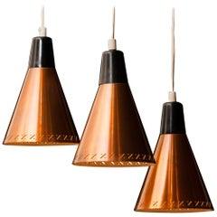Copper and Brass Pendant Light by Hans-Agne Jakobsson, Sweden, 1950s