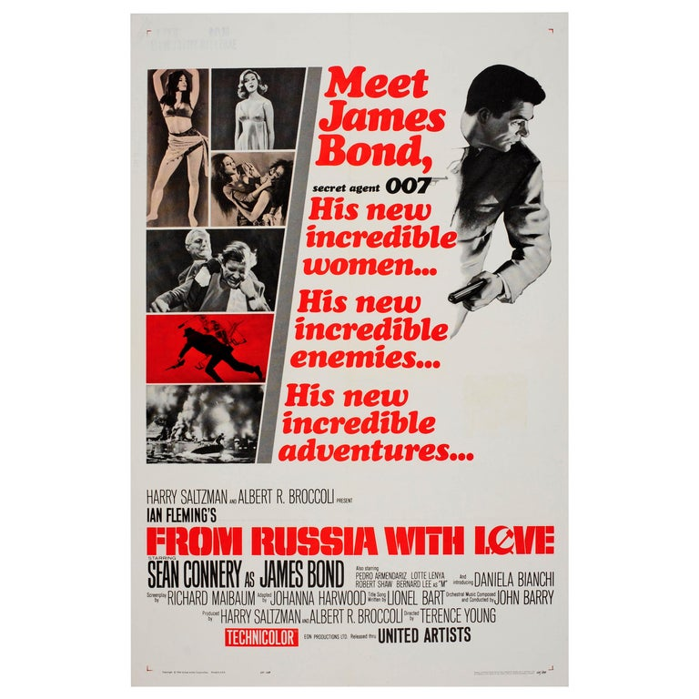 Original Vintage Movie Poster for the 007 James Bond Film From Russia With Love For Sale