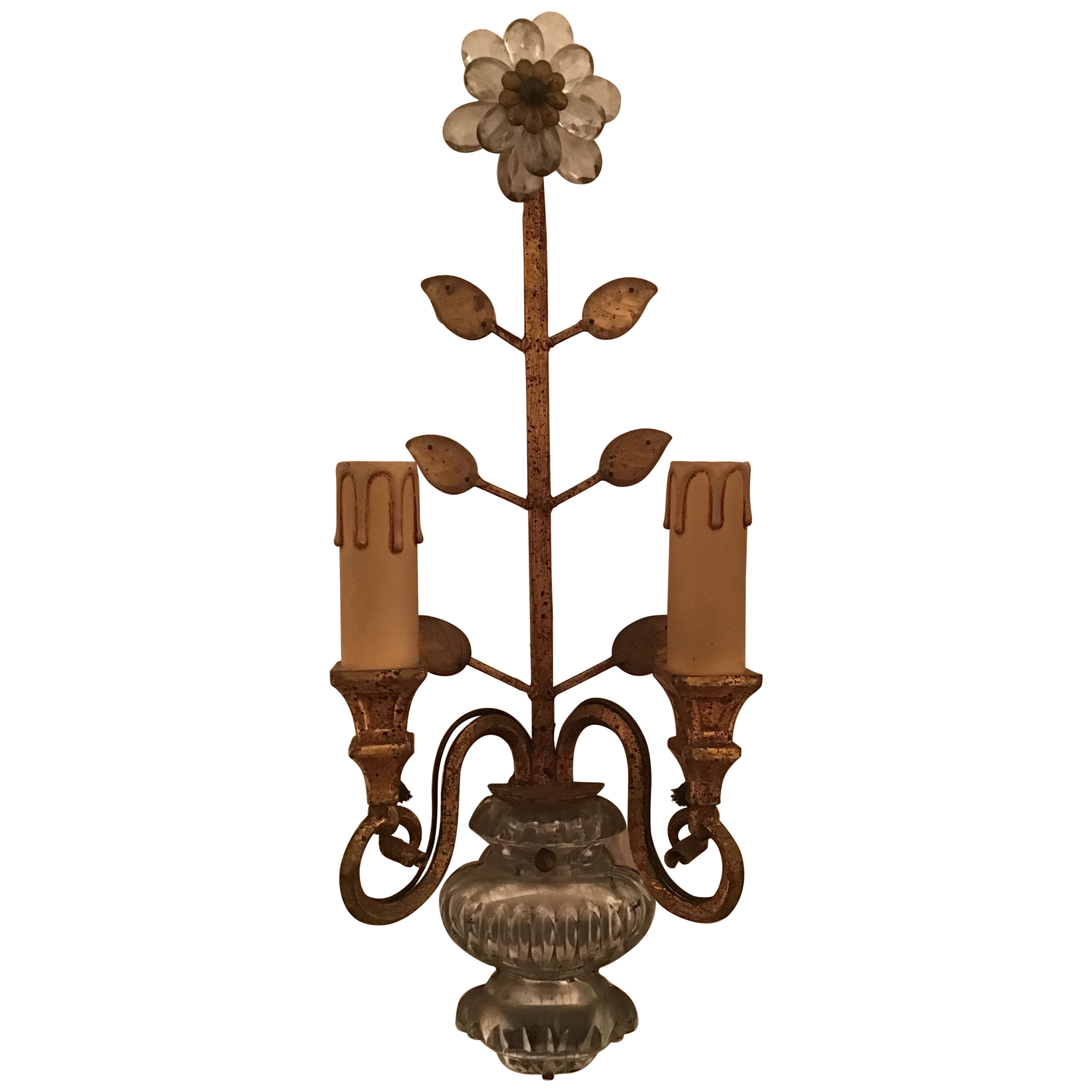 Beautiful Gilt Wall Sconce in the Style of Maison Bagues, circa 1940s