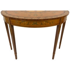 Exquisite Adam Style English Hand Painted Demilune Console Table