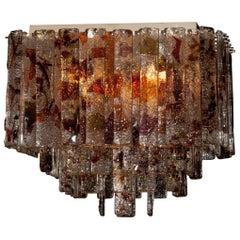 1960s, Multicolor Italian Squared Venini Murano Crystal Ceiling Lamp by Mazzega