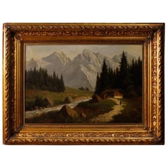 19th Century Oil on Canvas Antique French Signed Landscape Painting, 1870