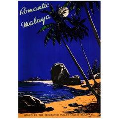 Original Vintage FMS Railway Travel Poster Romantic Malaya / Malaysia Singapore