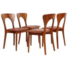 "Set of Four Niels Koefoed ""Peter"" Dining Chairs Teak and Aniline Leather"