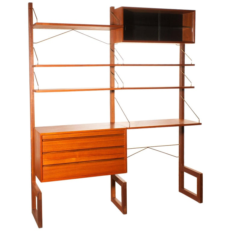 Teak Wall System Unit by Poul Cadovius for Cado, Denmark, 1960s For Sale