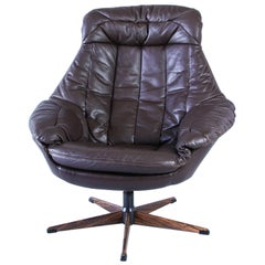 H.W Klein Leather Swivel Armchair