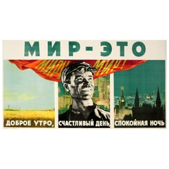Original Vintage USSR Propaganda Poster World Peace Farming Industry Moscow City