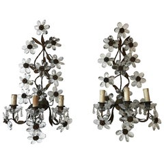 Huge Clear Flower Maison Bagues Style Three-Light Sconces