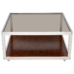 1970s Vintage Chrome Coffee Table by Howard Miller Associates