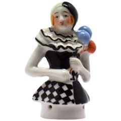 Rare Art Deco Pierette Half Doll Pin Cushion