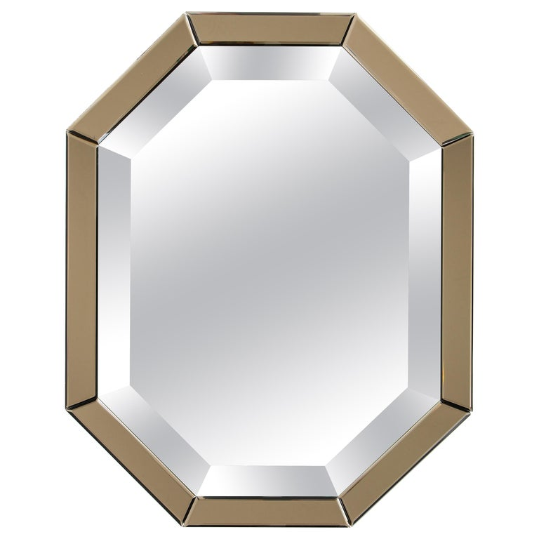 All-Glass Italian Octagonal Mirror For Sale