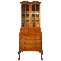 Burr Walnut Queen Anne Style Double-Dome Bookcase