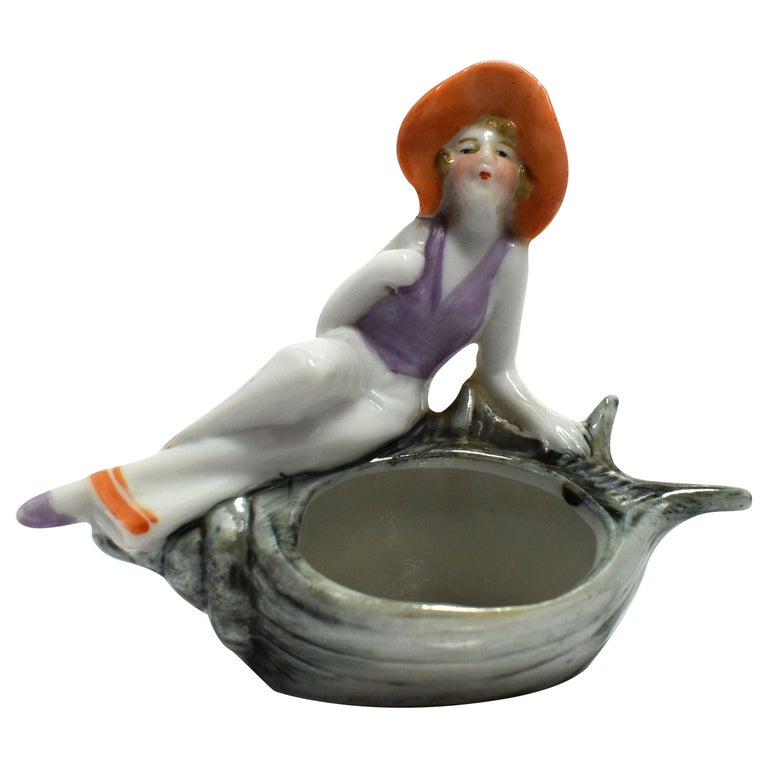 Art Deco French Souvenir Porcelain Trinket Tray For Sale