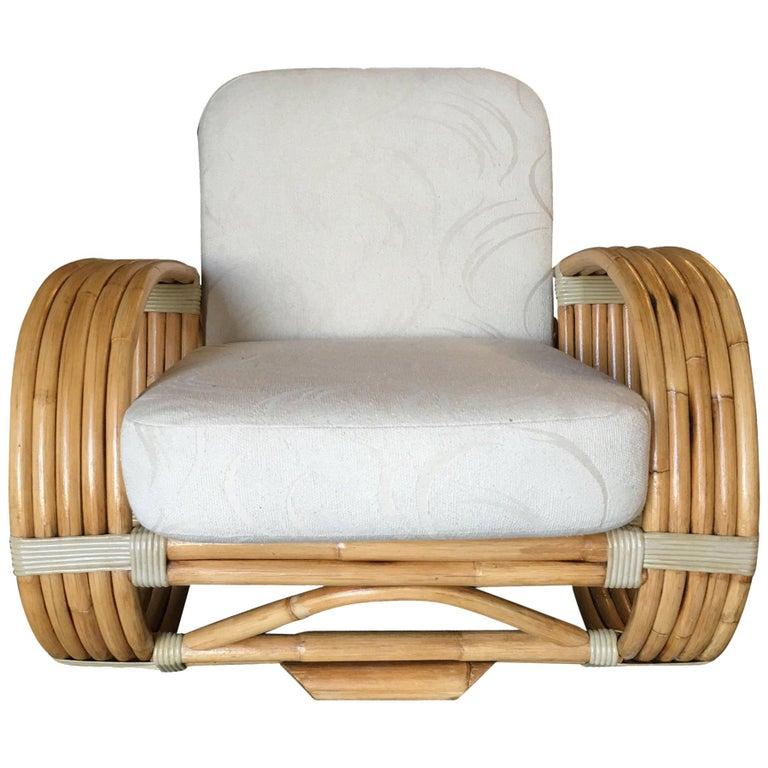 "Paul Frankl Inspired 5-Strand ""Reverse Pretzel"" Rattan Lounge Chair For Sale"