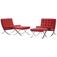 "Ludwig Mies van der Rohe Pair of ""Barcelona"" Chairs and Ottomans for Knoll"
