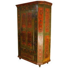 Antique German Decorative Hand Painted One Door Wardrobe Cabinet